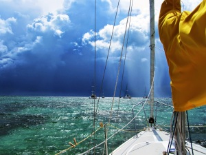 View from the Bow of a Catalina 25 In the Bahamas