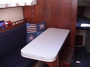 Catalina 25 Traditional Interior with Table Leaf Closed
