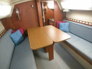Salon of a Catalina 25 with Traditional Interior, table lowered
