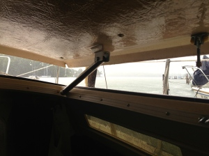 View from Inside Catalina 25 Salon with Pop-top Partially Raised During Rain Storm
