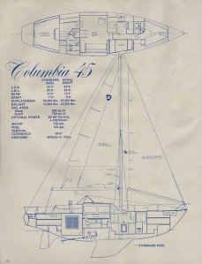 Columbia 45 Deep Draft Sloop and Interior Diagram