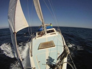 A Columbia 45 Sailing Off the Coast of Brazil