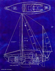 Columbia 45 Shoal Draft Ketch and Deck Diagram