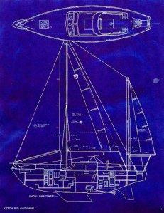 Columbia 45 Shoal Draft Ketch and Deck Diagram