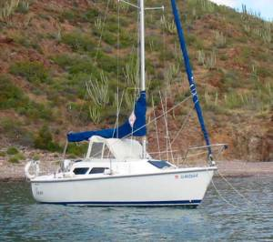 Catalina 22 Mark II, Hinged Pop-top Raised, Optional Cover Installed