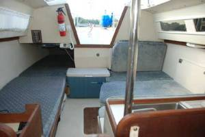 Catalina 22 New Design, Looking Aft from V-berth, Dinette Table Lowered