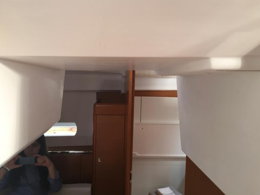 Jeanneau Sun Odyssey 44DS Owner's Cabin Aft, View to Port, Varied Head Room