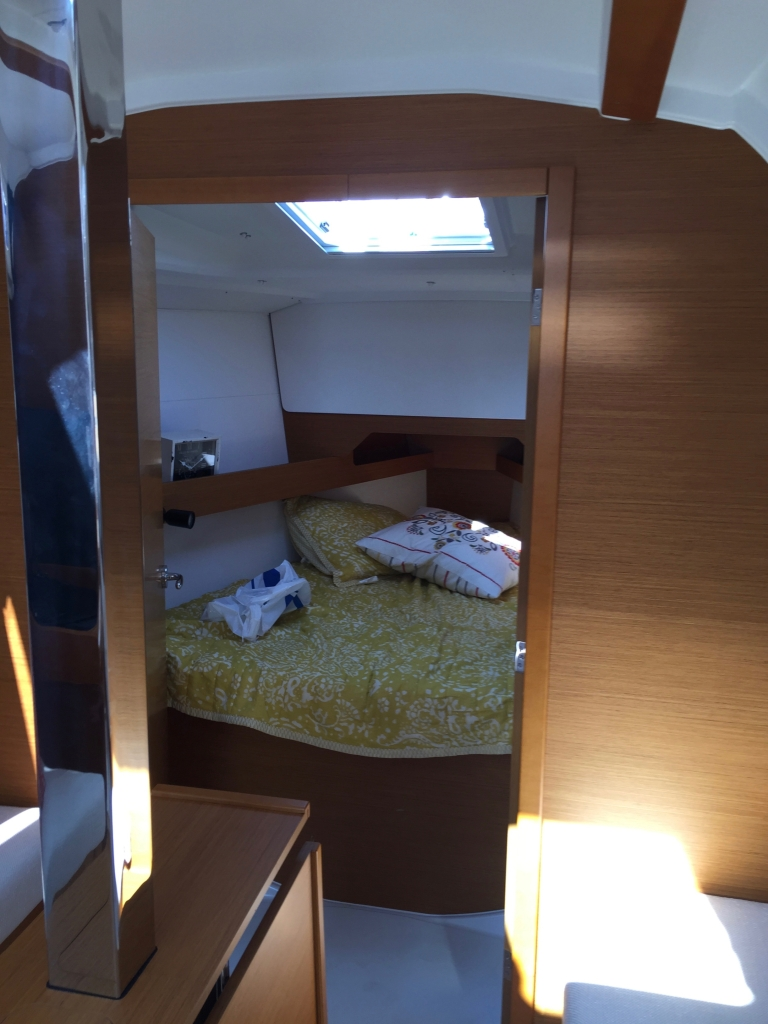 Jeanneau Sun Odyssey 349 Forward Cabin With V-berth, View from Salon