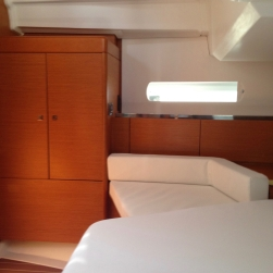 Jeanneau Sun Odyssey 44DS Owner's Cabin Aft, View to Starboard from Bunk