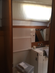 Jeanneau Sun Odyssey 44DS Aft Head, View from Owner's Cabin