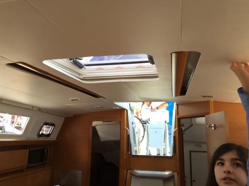 Jeanneau Sun Odyssey 389 Main Salon, Hand Holds Within Reach of Shorter Crew