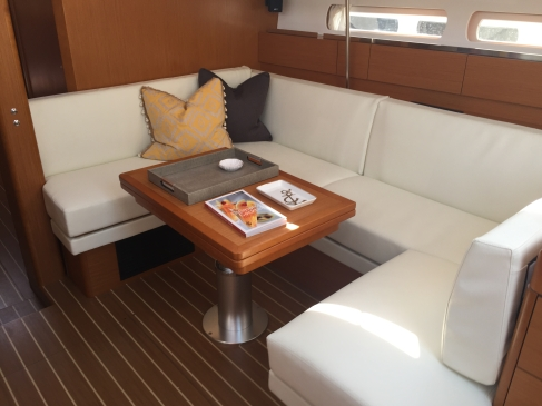Jeanneau Sun Odyssey 44DS Main Salon, View Forward to Starboard, Table Lowered