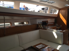 Jeanneau Sun Odyssey 44DS Main Salon, View Aft to Starboard