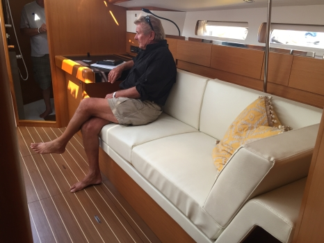 Jeanneau Sun Odyssey 44DS Main Salon, View Aft to Port, Settee