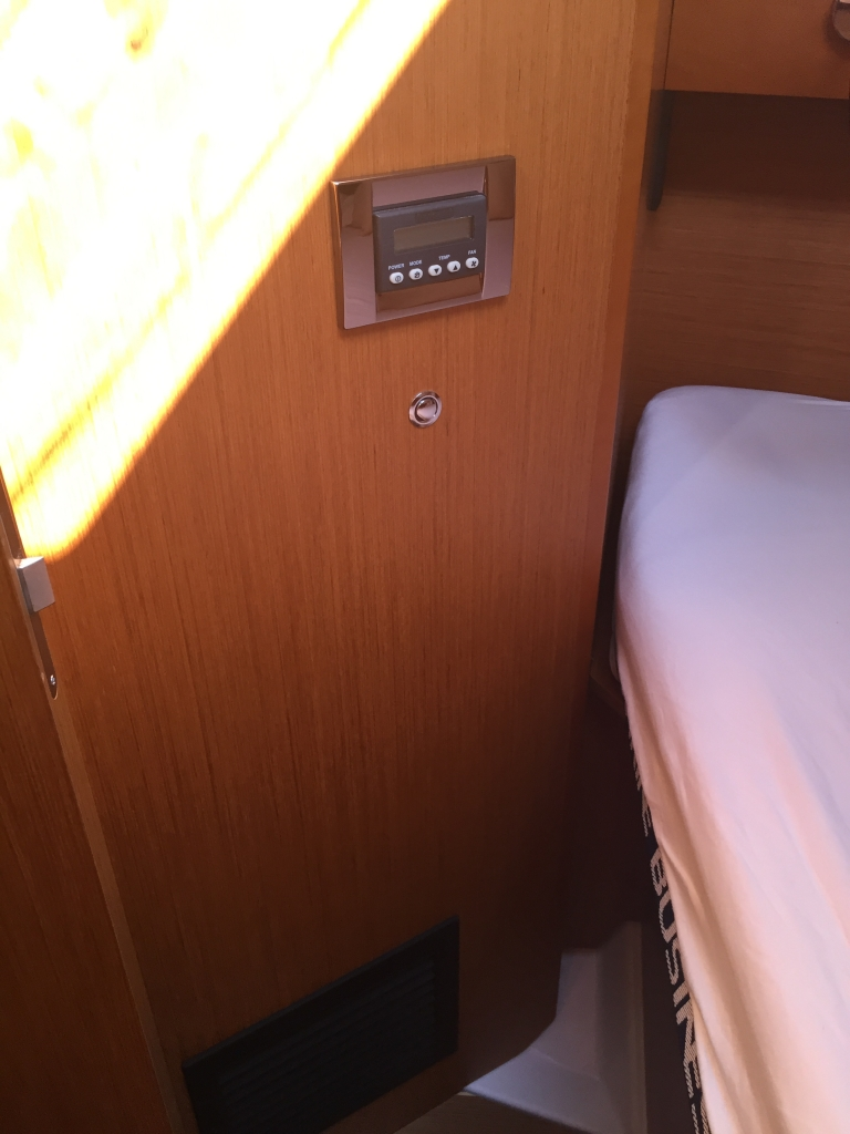 Jeanneau Sun Odyssey 44DS Forward Cabin, View to Port, Climate Control