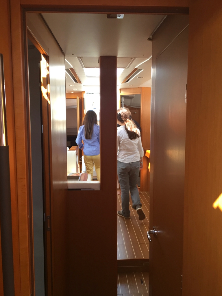 Jeanneau Sun Odyssey 44DS Forward Passageway, View Aft to Main Salon