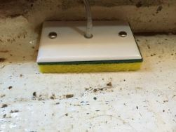 A completed pickup with sponge screwed to faceplate